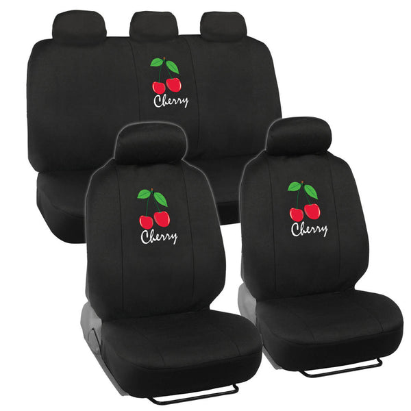 Cool Cherry Seat Covers - 9pc Universal Fit - Designer Interior Accessories