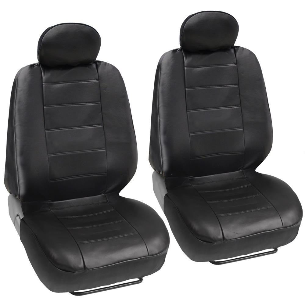Black Synthetic Leather Premium Leatherette Front Seat Covers