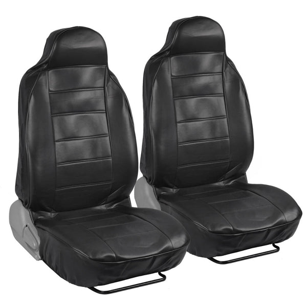 RealFeel Faux Leather Car Seat Covers - Front Pair - High Back Leatherette (3 Color)