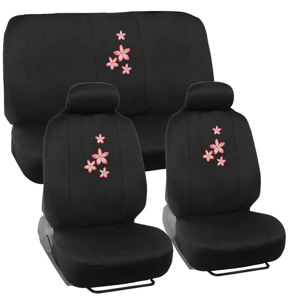 Pink Floral Flower Car Seat Covers - Universal Fit, 9 Piece