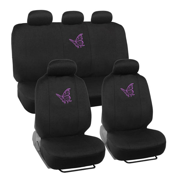 Purple Butterfly Car Seat Covers - Universal Fit, 9 Piece