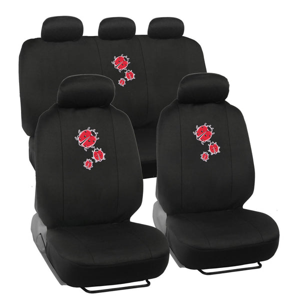 Ladybug Seat Covers - 9pc Universal Fit - Designer Interior Accessories