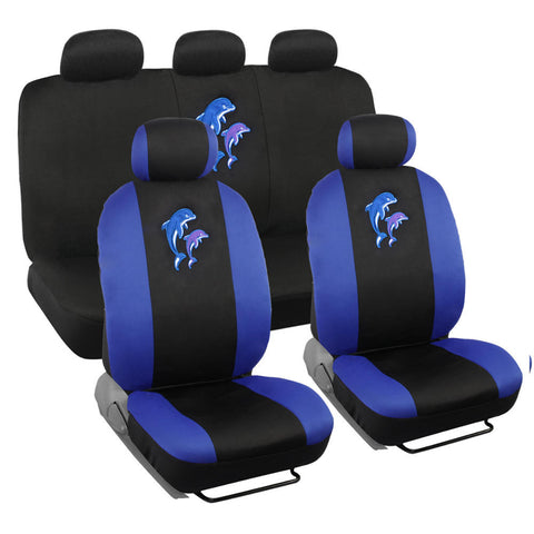 Blue Dolphin Car Seat Covers - Universal Fit, 9 Piece