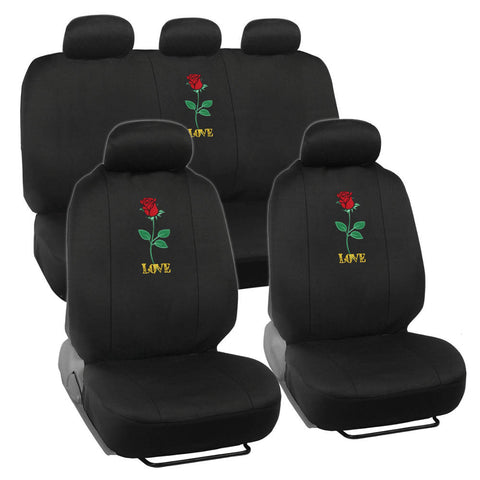 Red Rose Car Seat Covers - Universal Fit, 9 Piece