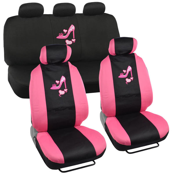 Pink Love Heel Car Seat Covers - Universal Fit, 9 Piece