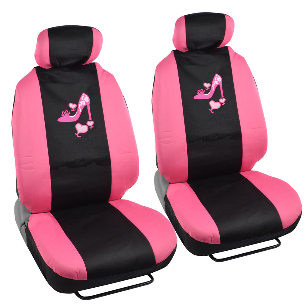 Pink Love Heel Design Universal Fit 9pc Seat Covers