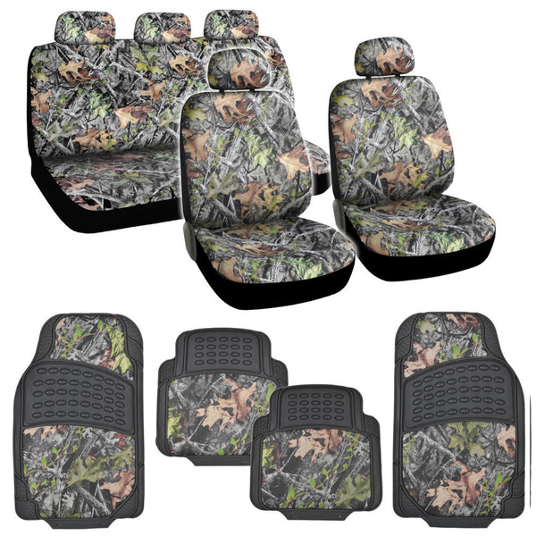 Camo Seat Covers & Rubber Floor Mats - 15pc Universal Fit - Heavy Duty Camouflage Inlay Mats