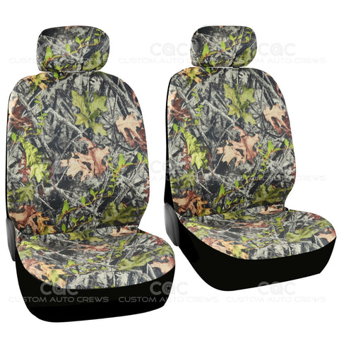 BDK Hunting Camo Seat Covers - 2 Front Seat Protection Low Back Seat Built in Seat Belt Armrest Opening Airbag Safe
