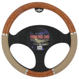 BDK Burlwood Steering Wheel Cover (Beige)