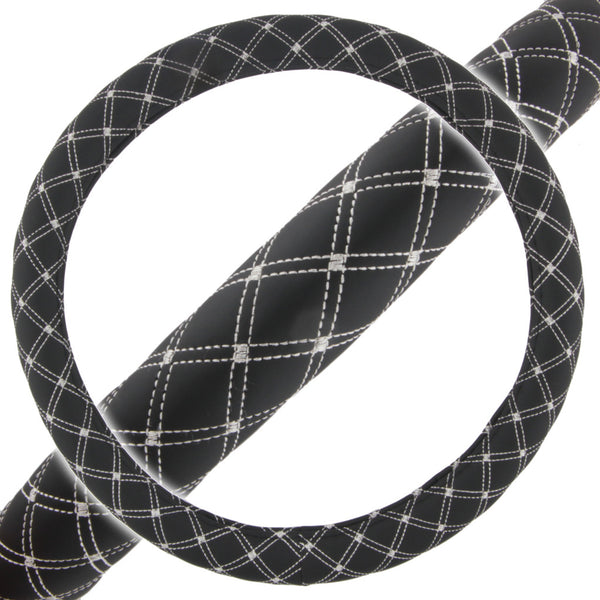Black Diamond Quilted Stitching Pattern Leather Steering Wheel Cover
