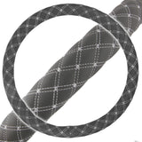 Gray Diamond Quilted Stitching Pattern Leather Steering Wheel Cover
