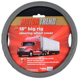 "Motor Trend Big Rig Steering Wheel Cover for Trucks XXL 18"" Gray Odorless Snyth Leather"