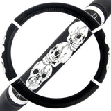 "BDK 14.5"" - 15.5"" 3 Skulls Steering Wheel Cover"