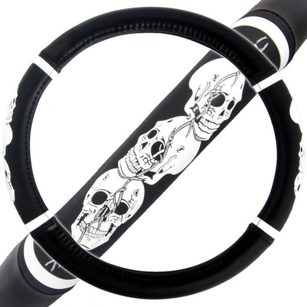 Skull Head Pattern Steering Wheel Cover 14.5