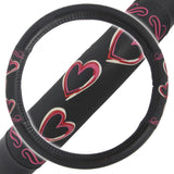 "Love Hearts Steering Wheel Cover PU Leather Grip 15"" Standard Size"