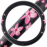 "Pink Floral Pattern Steering Wheel Cover 14.5"" to 15.5"""