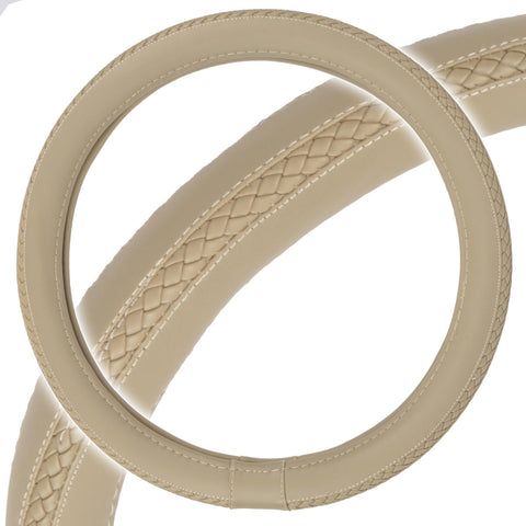 Braided Grip Beige Steering Wheel Cover Premium Odorless Luxury Synth Leather