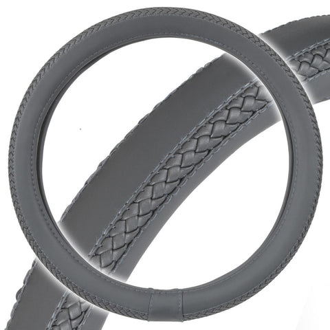 Braided Grip Gray Steering Wheel Cover Premium Odorless Luxury Synth Leather