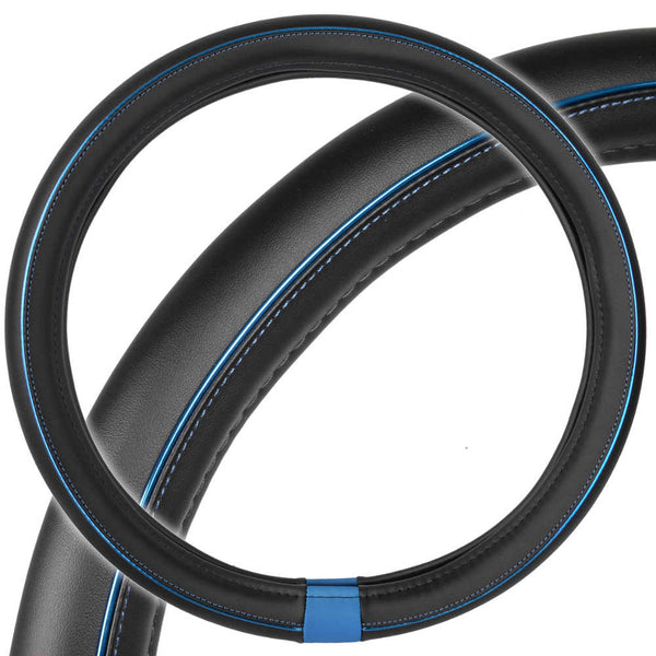 Motor Trend ProSleek Synthetic Leather Steering Wheel Cover Black w/ Blue Metallic Ring Standard Size