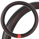 Motor Trend ProSleek Synthetic Leather Steering Wheel Cover Black w/ Red Metallic Ring Standard Size
