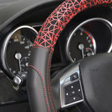 Motor Trend GripDrive Fractal Web Synth Leather Steering Wheel Covers - Comfort Cushion Grips - 5 Color Options