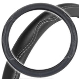 Odorless PU Leather Performance Grip Steering Wheel Cover - Black w/ Accent Stitching