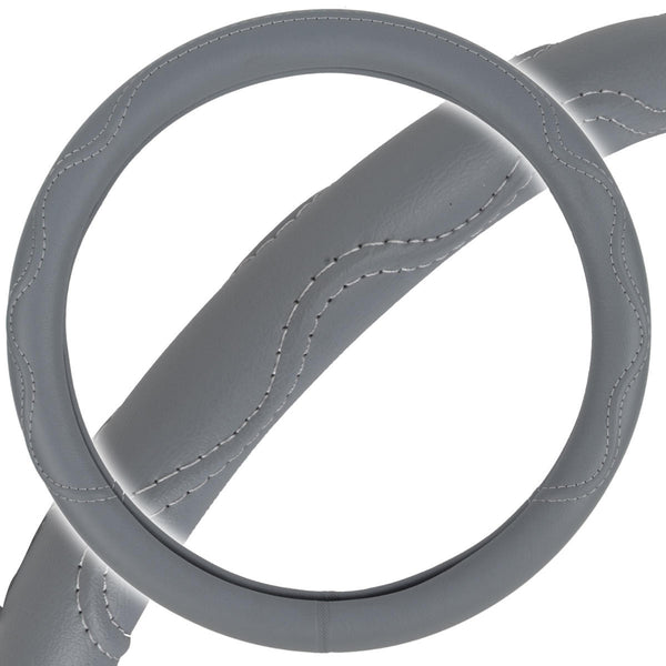 Odorless PU Leather Performance Grip Steering Wheel Cover - Gray w/ Accent Stitching