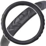 Black Synth Leather Steering Wheel Cover - Cushioned Comfort Ergo Foam Grip