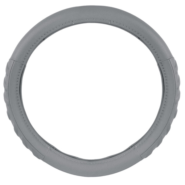 Gray Synth Leather Steering Wheel Cover - Cushioned Comfort Ergo Foam Grip