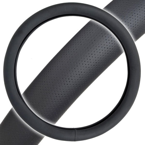 Perforated Faux Leather Steering Wheel Cover - Odorless TPE (Black)