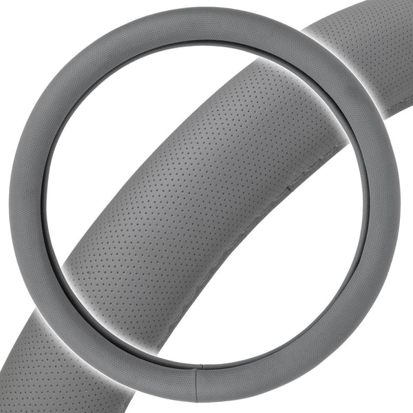 Perforated Faux Leather Steering Wheel Cover - Odorless TPE (Gray)