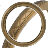 VIP Quilted Diamond Gold Steering Wheel Cover Odor-Free BPA Free Synthetic Leather Non Toxic. (Size : 14.5 to 15.5)