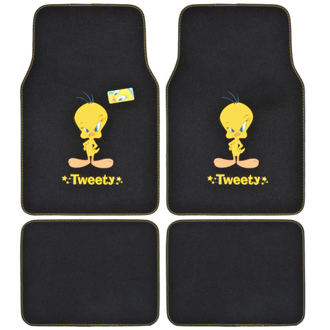 Looney Tunes Tweety Bird Carpet Floor Mats - 4 Piece Universal Fit
