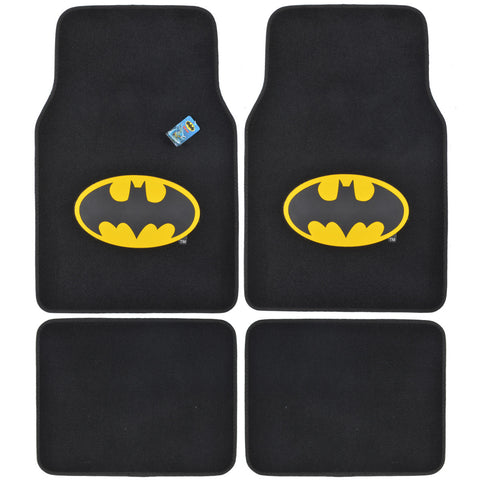 Classic Batman Carpet Floor Mats - 4pc Universal Fit - Licensed Interior Accessories