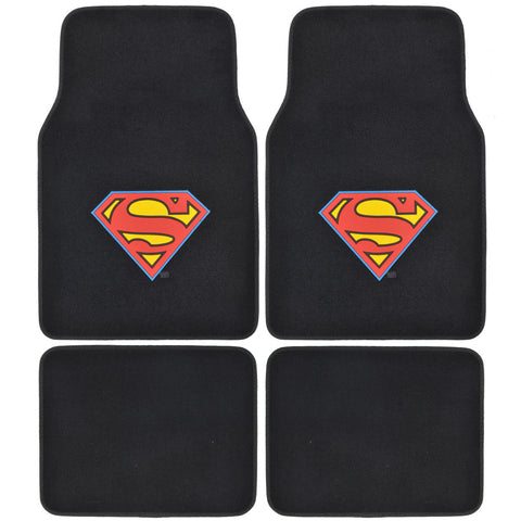 Classic Superman Carpet Floor Mats - 4pc Universal Fit