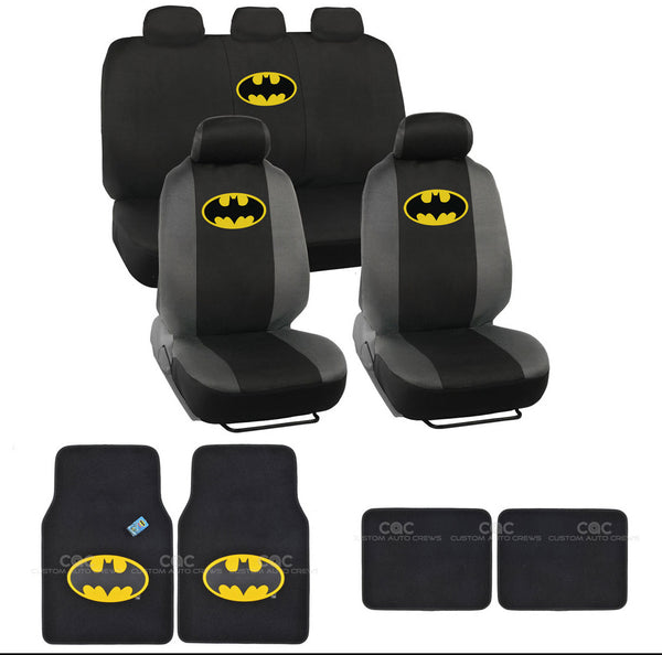 Classic Batman Seat Covers & Floor Mats Set - 13pc Universal Fit - Licensed Interior Accessories