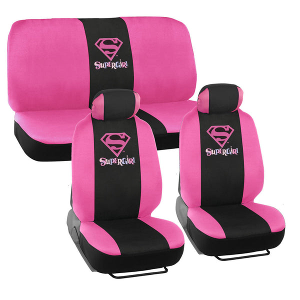 Supergirl Seat Covers - Pink & Black - 9pc Full Set Front & Rear Interior