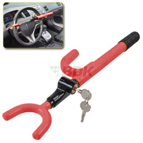 BDK Steering Wheel Lock - Heavy Duty Anti-Theft Device Extra Secure - Red