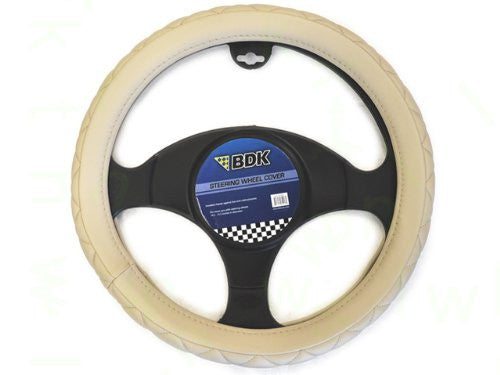 Beige Steering Wheel Cover - Memory Foam Soft Grip 14.5