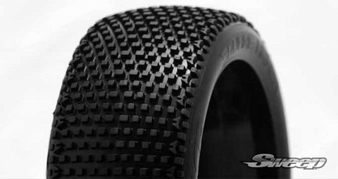 SWEEP RACING 1/8 BUGGY SQUARE ARMOR TIRES - RED DOT ON WHITE WHEELS , 1/8 buggy wheels & Tires combo - Sweep Racing, Fastlaphobby.com LLC  - 1