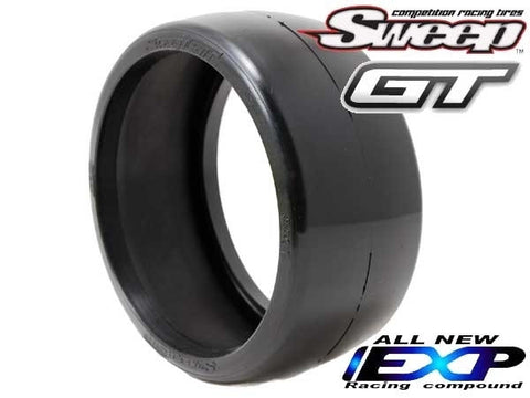 SWEEP RACING 8TH GT BELTED SLICK EXP RACING TIRE - BLUE DOT ON EVO16 BLACK WHEELS , 1/8 GT Tires - Sweep Racing, Fastlaphobby.com LLC  - 1