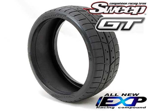 SWEEP RACING 1/8TH GT BELTED TREADED EXP RACING TIRE ON EVO16 BLACK WHEELS , 1/8 GT Tires - Sweep Racing, Fastlaphobby.com LLC  - 1