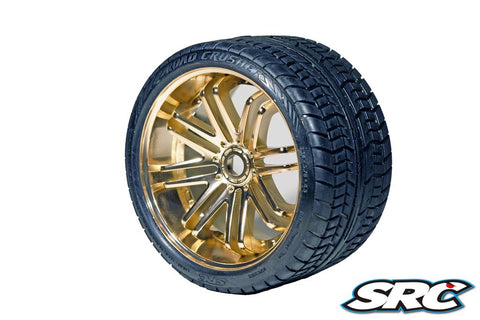 SRC ROAD CRUSHER TIRES ON BRONZE SPOKE WHEEL - PRE-MOUNTED , monster truck tires - SRC, Fastlaphobby.com LLC  - 1