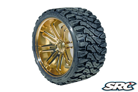 SRC TERRAIN CRUSHER BELTED TIRES ON BRONZE SPOKE WHEELS - PRE-MOUNTED , monster truck tires - SRC, Fastlaphobby.com LLC  - 1
