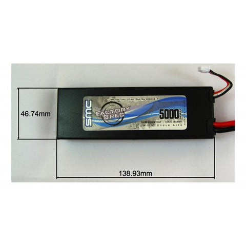 SMC FACTORY SPEC 7.4V 5000mAh 70C LIPO BATTERY W/ TRAXXAS CONNECTOR , LIPO Batteries - SMC, Fastlaphobby.com LLC  - 1