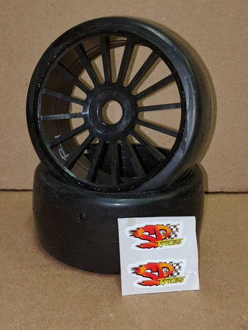 SP RACING 1/8 RALLY GAMES GT SLICKS PRE-MOUNTED ON BLACK WHEELS - MEDIUM COMPOUND , 1/8 On road slick tire - SP Racing, Fastlaphobby.com LLC  - 1