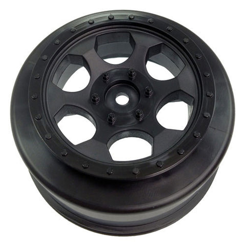 DE Racing Trinidad SC Hex Wheels w/+3mm Offset - SC10 4x4 (1 Pair - Black) , Short Course Wheels - DE Racing, Fastlaphobby.com LLC