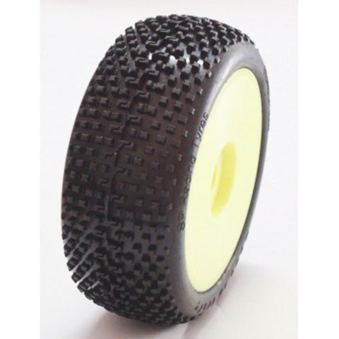 SP RACING 1/8 BUGGY TIRES - DEMOLITION PRE-GLUED W/YELLOW WHEELS
