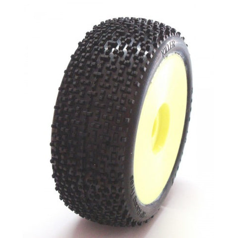 SP RACING 1/8 BUGGY TIRE - KILLER SS W/YELLOW WHEELS - PRE-GLUED , 1/8 buggy wheels & Tires combo - SP Racing, Fastlaphobby.com LLC