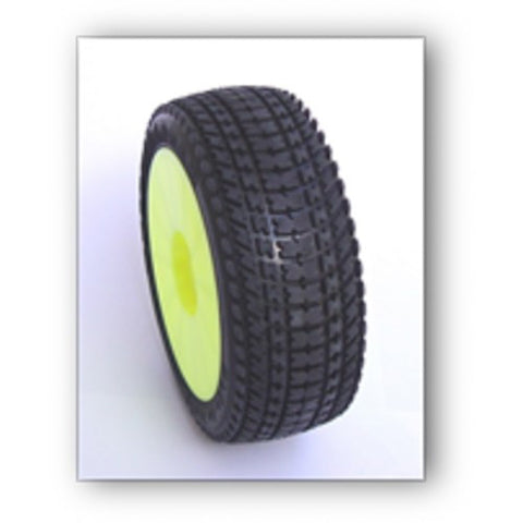 SP RACING 1/8 BUGGY TIRE - VELOCIRAPTOR SS PRE-GLUED ON YELLOW WHEELS , 1/8 buggy wheels & Tires combo - SP Racing, Fastlaphobby.com LLC